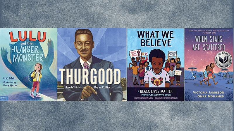 Collage of four social justice books for kids book covers
