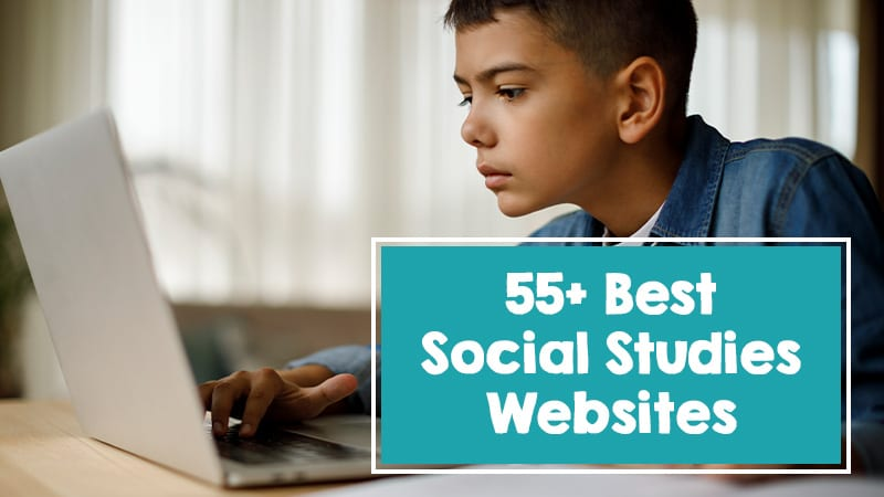 55+ Best social studies websites with a young boy learning from home on the computer.