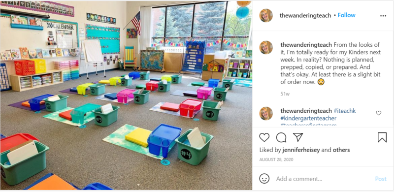 Colorful yoga mats in kindergarten classroom with plastic tray desks and organizers