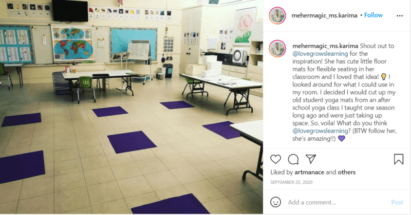 Yoga mats cut into squares on floor of classroom for flexible seating