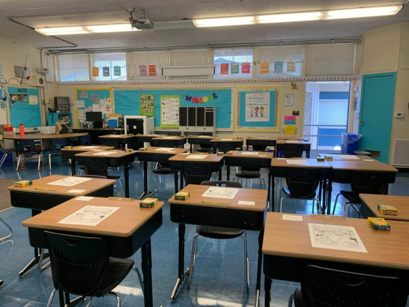 First and second grade combination classroom wood desks and floor flooring