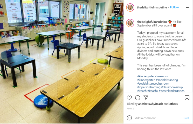 Flexible seating with desks of various heights in elementary classroom