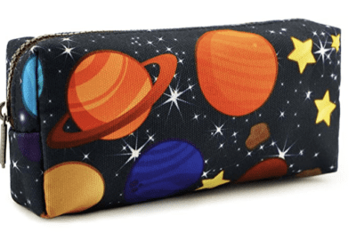 Space pencil case with stars and planets