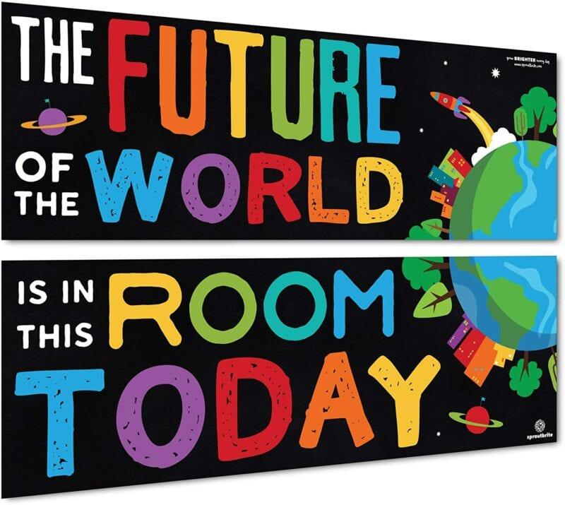 "Classroom space theme ""future of the world"" bulletin board"