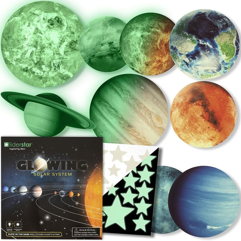 Glow in the dark ceiling planet decals for classroom