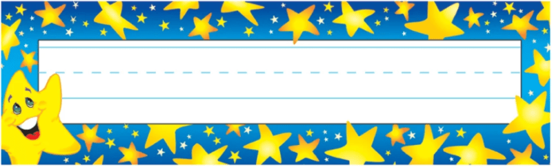 Blue bordered classroom name plate decorated with yellow stars