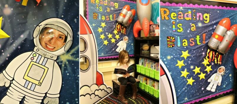 Classroom library reading area space theme inspiration