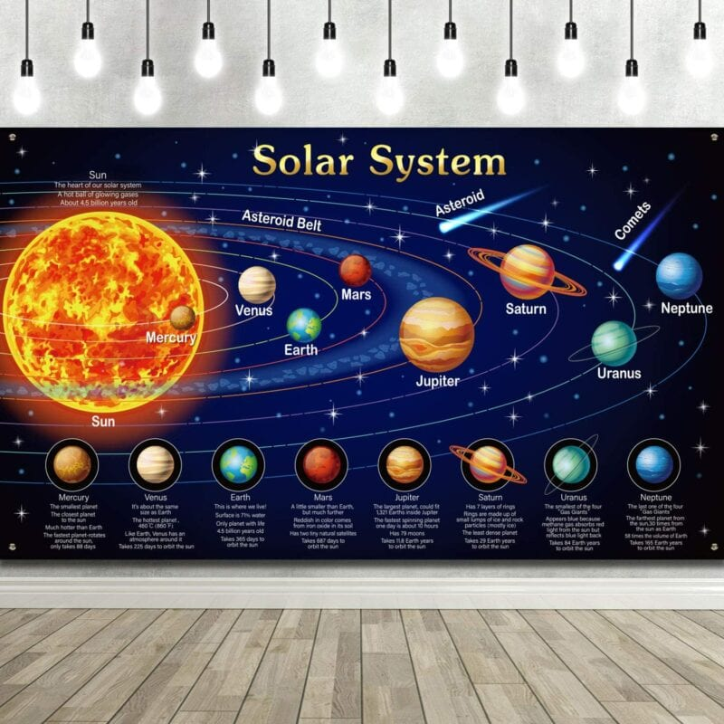 Space theme classroom backdrop featuring brightly colored planets