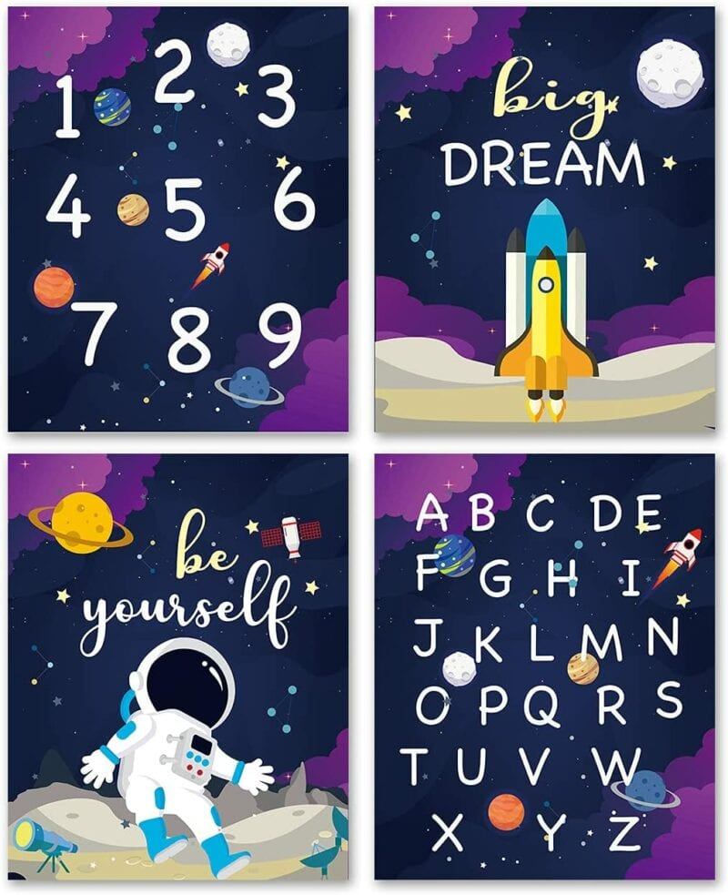 Classroom space theme wall art featuring astronauts and space shuttle