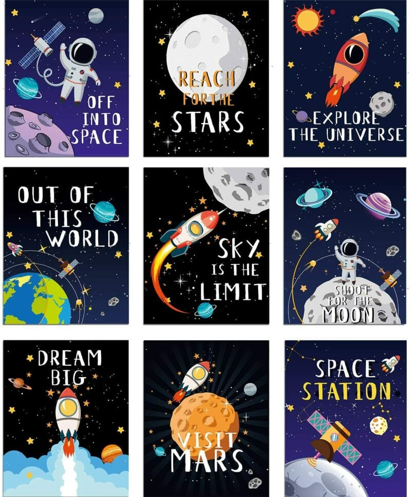 Classroom inspirational posters featuring space theme