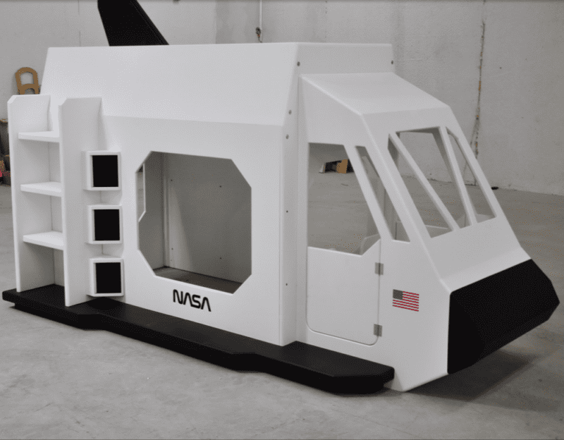 Replica of NASA space shuttle playhouse for classroom space theme