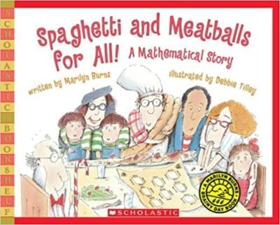Book cover for Spaghetti and Meatballs for All as an example of books about math for kids