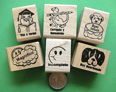 Spanish teacher ink stamp set
