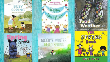 Collage of six spring books for kids book covers