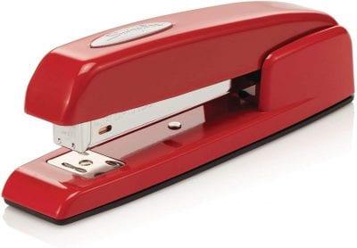 Red stapler.
