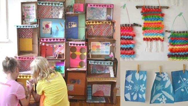 Collage of children's art projects