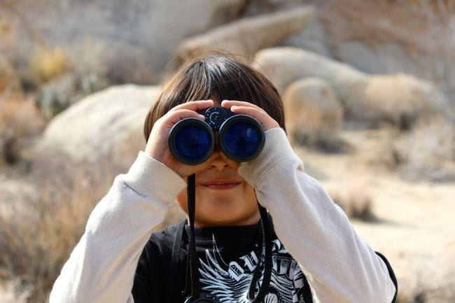 Child looking through a pair of binoculars (Staycation Activities)