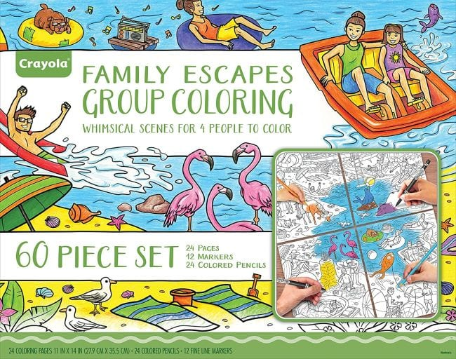 Family Escapes Coloring kit, with multiple pages for families to share (Spring Break Activities)