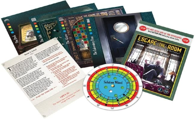 Escape room game with cards and instructions