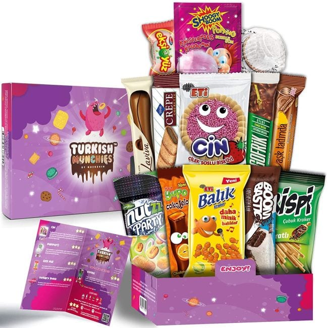 Variety of Turkish snacks packaged in a pink box