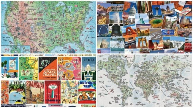 Collage of jigsaw puzzles including US and world maps