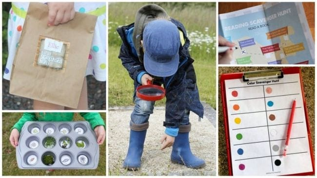 Collage of children's scavenger hunts and child with a magnifying glass