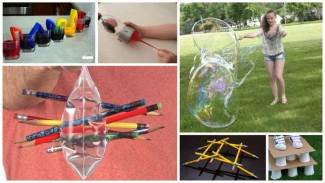 Collage of science experiments you can do with household materials