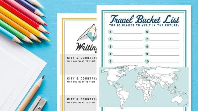 Worksheet labeled Travel Bucket List with colored pencils (Spring Break Activities)