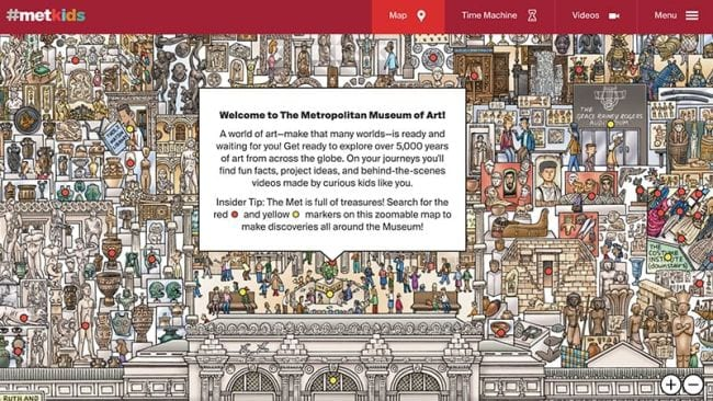 Illustrated collage of museum exhibits, text reads Welcome to the Metropolitan Museum of Art (Spring Break Activities)