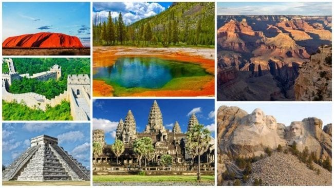Collage of world landmarks including Egyptian pyramids, Grand Canyon, and more (Spring Break Activities)