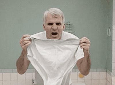 Steve Martin holding up underwear