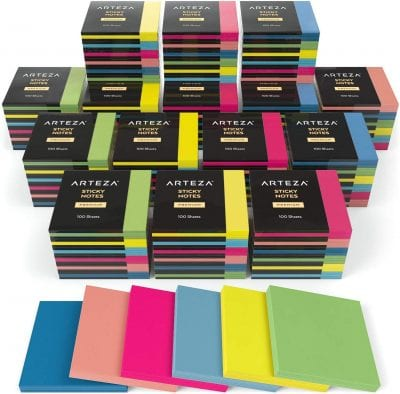 Piles of colored sticky notes.