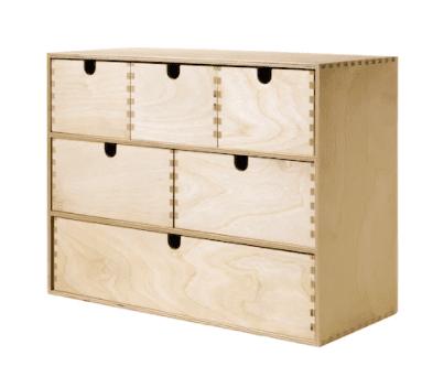 Birchwood storage chest with six drawers