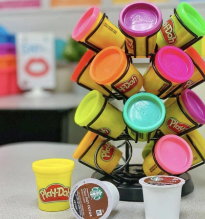 Store playdoh in k-cup holder