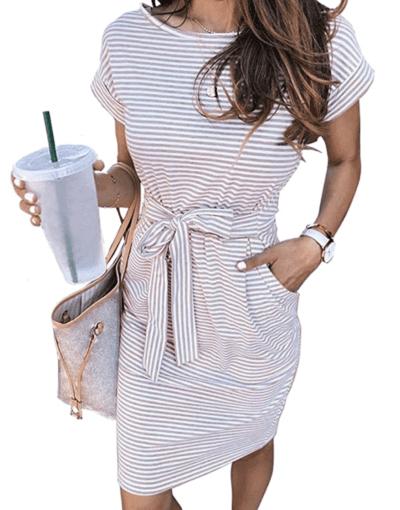 Striped dress with waist tie