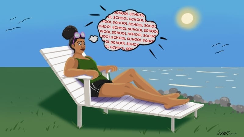Teacher on a lounge chair with a thought bubble and the word school repeating