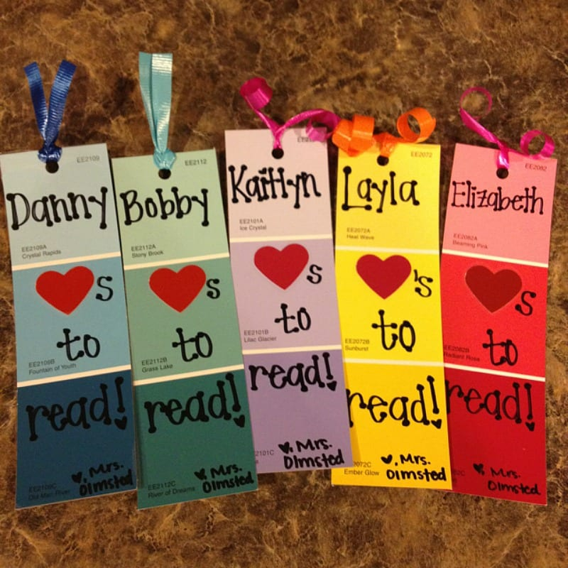 Bookmark for student gift made with colored paint samples, end of year gift for students