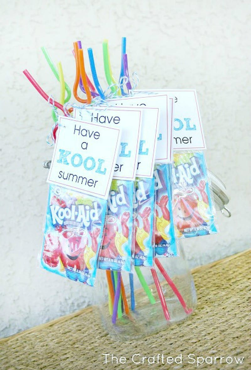 Have a kool summer Kool-Aid pack with straw