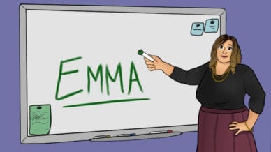 Teacher next to white board with Emma written in green