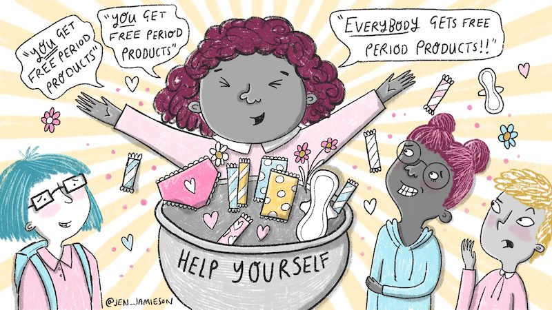 """Color illustration of teacher with period products saying """"You get free period products!"""" to three embarrassed students"""
