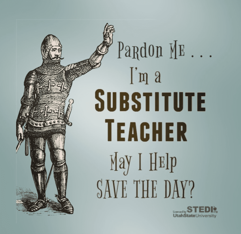 Man in armor being a substitute teaching saving the day