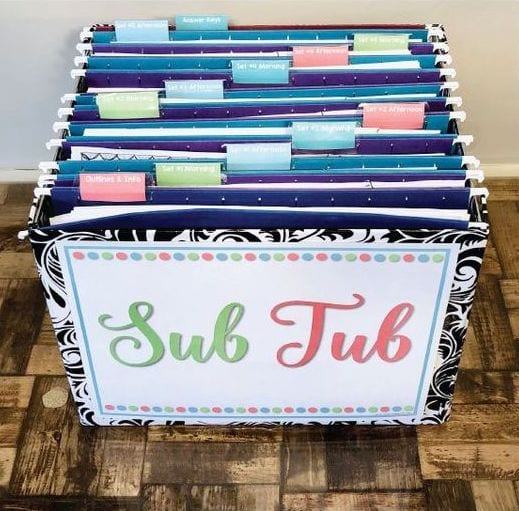 Sub tub filled with lessons, outlines, student info, and more.