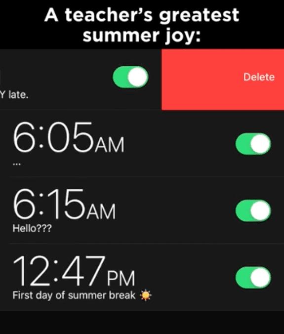 Summer meme of resetting alarm clock