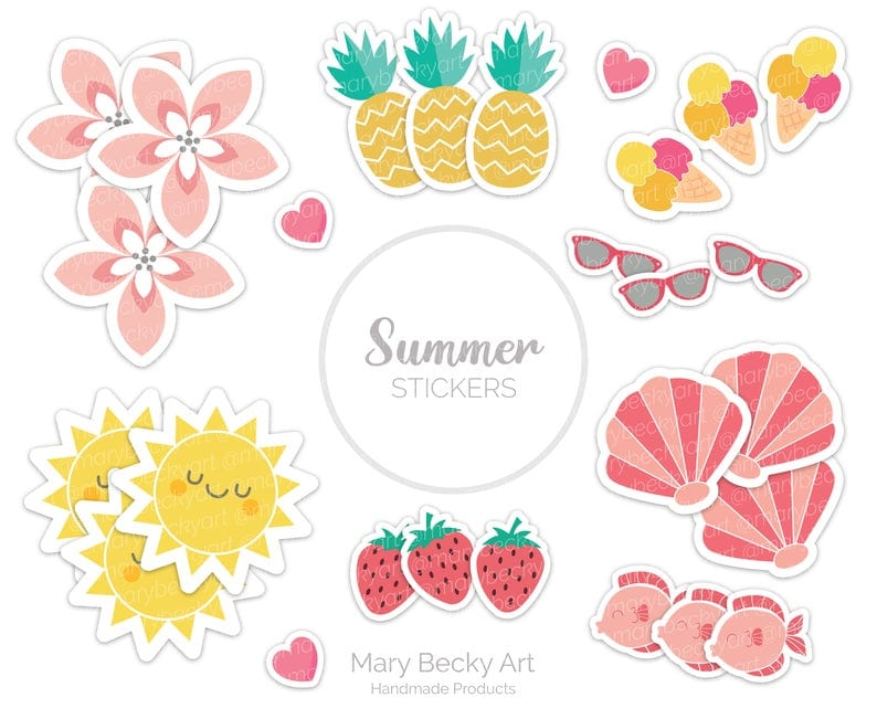 Printable summer stickers including fruit - inexpensive gift ideas for students