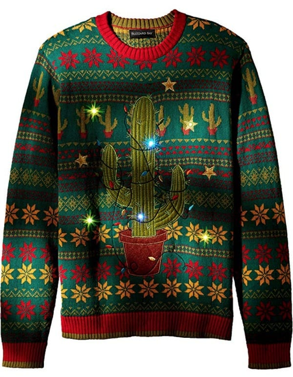Christmas sweater with a cactus lit up with Christmas lights.