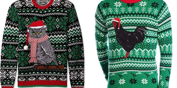 Christmas sweater with an owl and a green christmas sweater with a rooster.