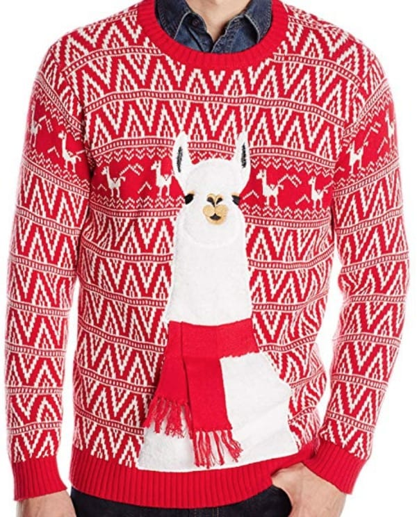 Christmas sweater with a llama graphic.