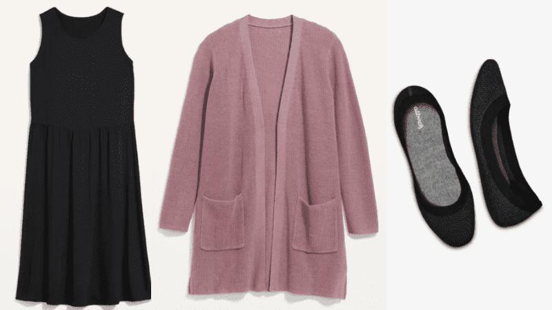 Black swing dress, mauve cardigan, and black flats teacher outfit