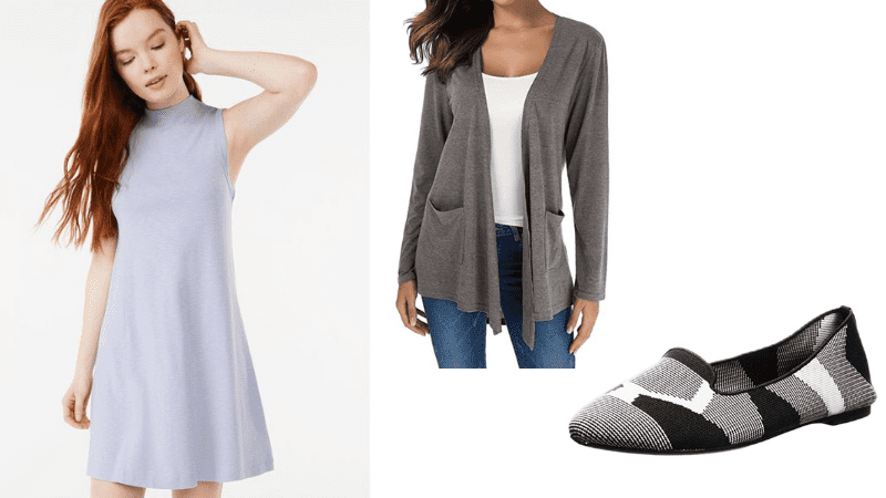 swing dress, cardigan, and shoes low price outfit for teachers