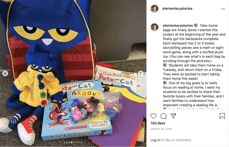 Take home reading books for students in reading bags